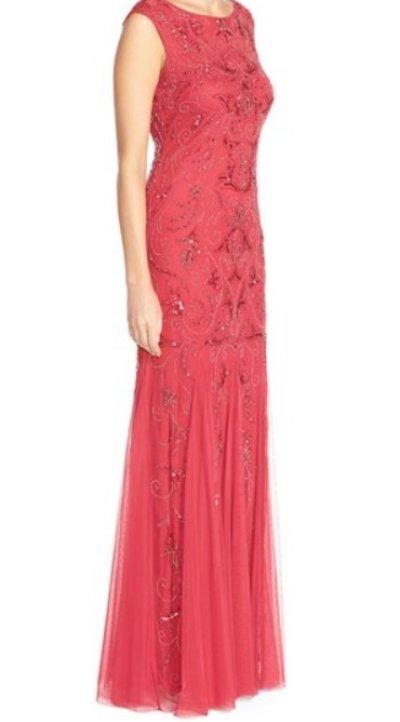 画像2: Adrianna Papell   Beaded Mermaid Gown レッド系