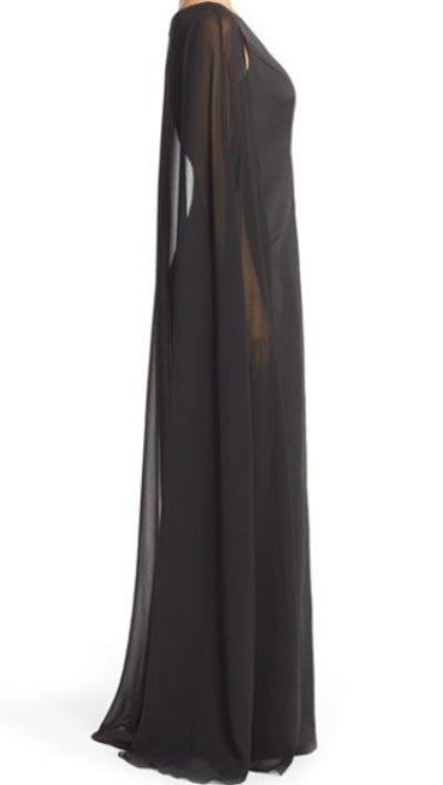 画像2: Adrianna Papell   Satin Column Gown with Chiffon Cape ブラック