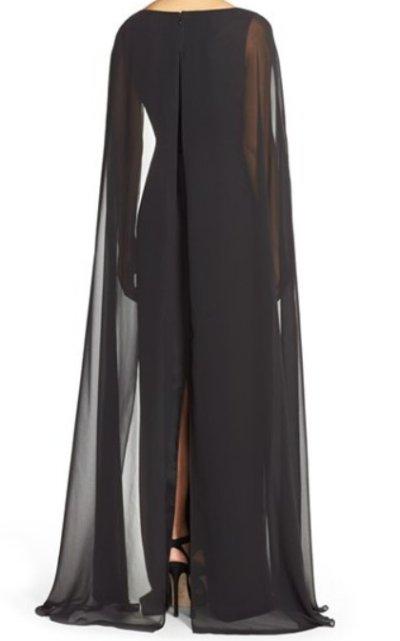 画像1: Adrianna Papell   Satin Column Gown with Chiffon Cape ブラック