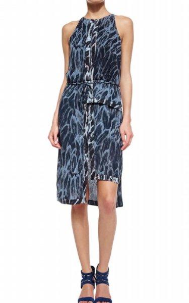 画像1: ドラマ【BONES使用】Halston Heritage   Feather-Print Tiered-Hem Dress  (1)