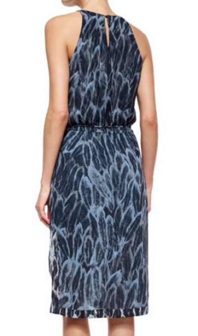 画像1: ドラマ【BONES使用】Halston Heritage   Feather-Print Tiered-Hem Dress