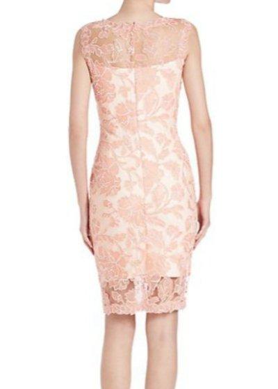 画像2: Tadashi Shoji  タダシショージ    Sleeveless Lace Sheath Dress ピンク系