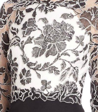 画像1: 【高畑淳子さんご着用】Tadashi Shoji      Three-Quarter Sleeve Lace and Crepe Gown ブラック