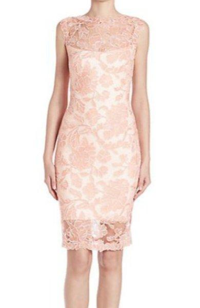 画像1: Tadashi Shoji  タダシショージ    Sleeveless Lace Sheath Dress ピンク系 (1)