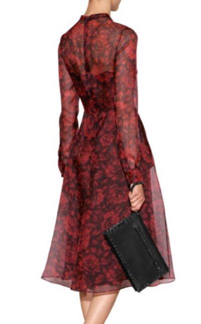 画像1: VALENTINO   Silk Organza Floral Print Dress