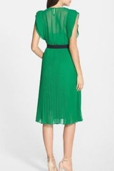 画像1: BCBGMAXAZRIA     LANETTE Sleeveless Pleated Ruffle Dress