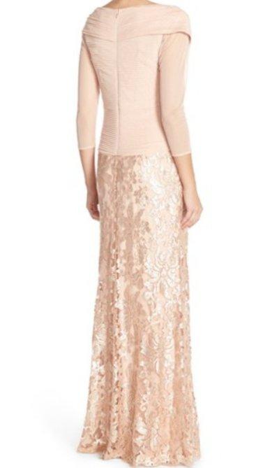 画像1: Tadashi Shoji     Sequin Lace Gown ピンク系