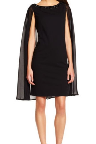 画像1: Adrianna Papell   Cape with Beaded Neckline Sheath Dress (1)