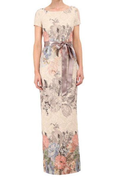 画像1: Adrianna Papell   Matelassé Floral Jacquard Column Gown (1)