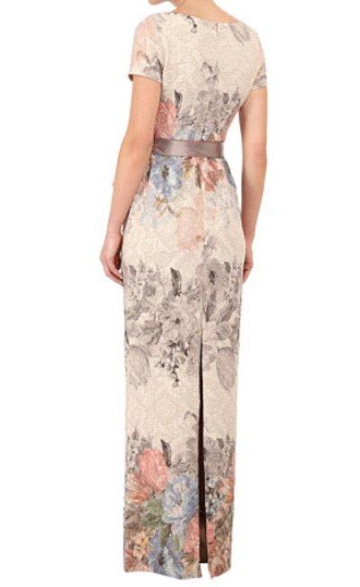 画像1: Adrianna Papell   Matelassé Floral Jacquard Column Gown