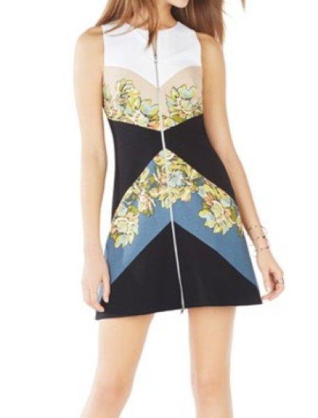 画像1: 【ドラマ使用】BCBG MAXAZRIA   Alaina Print-Blocked Sheath Dress マルチ (1)