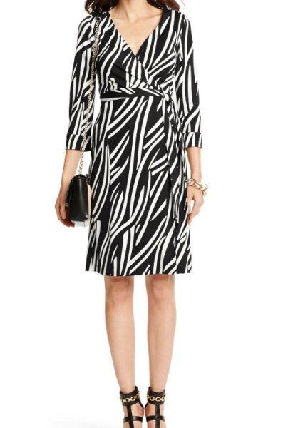画像1: Diane von Furstenberg ダイアンフォンファステンバーグ New Julian Two wrap  dress  Vintage Cornfields Large White  (1)