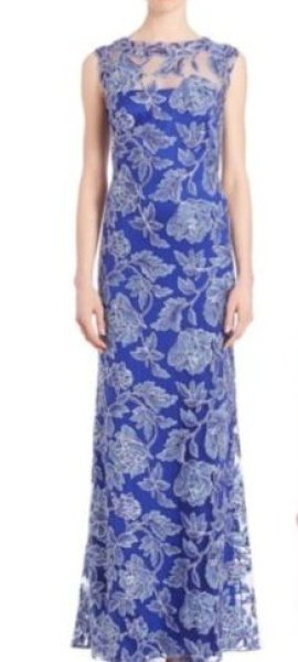画像1: 【長谷川理恵さんご着用】Tadashi Shoji タダシショージ  Floral Overlay Gown ブルー系  (1)