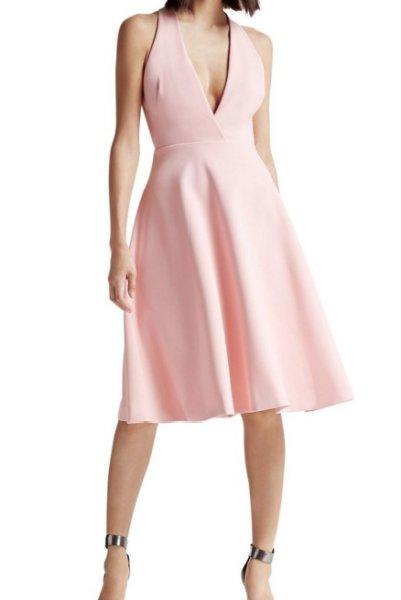画像1: 【ドラマ使用】Halston Heritage パーティードレス Sleeveless Deep V-Neck Midi Dress (1)