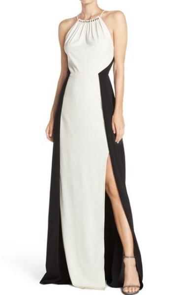 画像1: 【ドラマ使用】Halston Heritage パーティードレス Colorblock Crepe Gown (1)