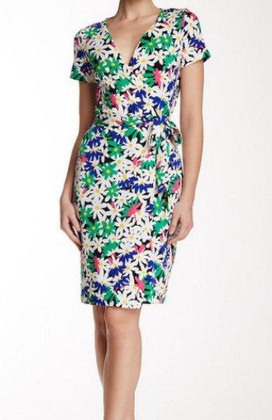 画像1: Diane von Furstenberg ダイアンフォンファステンバーグ New Julian Two Garden Daisy Multi Wrap Dress (1)