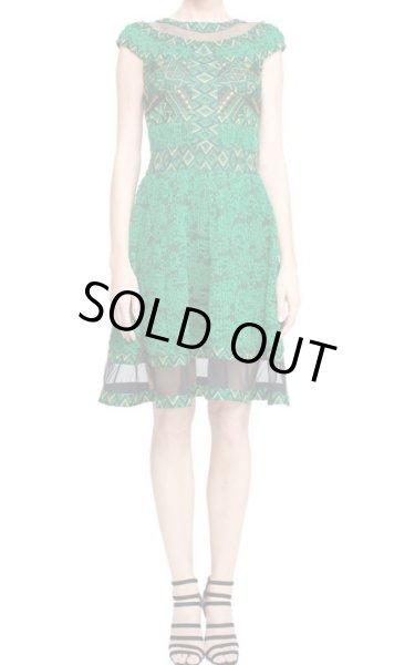 画像1: 再販売【シェリーさんご着用】Tadashi Shoji タダシショージ Jungle Green Cap Sleeve Abuja Dress グリーン系 (1)