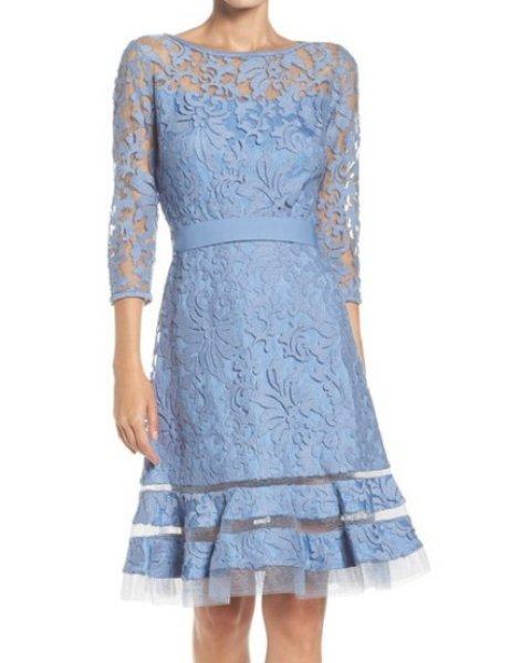 画像1: Tadashi Shoji  タダシショージ     Lace Overlay Dress ブルーストーン (1)