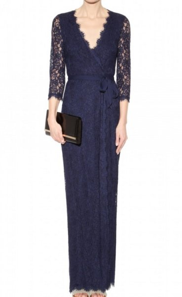 画像1: 【パリスヒルトン愛用】Diane von Furstenberg ダイアンフォンファステンバーグ  Julianna Lace Wrap long Dress  (1)