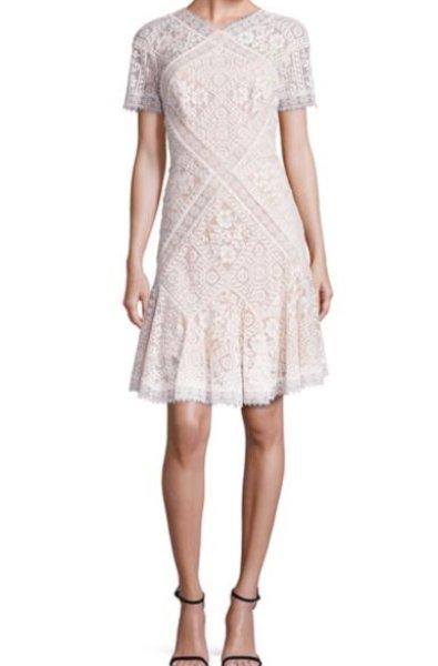 画像1: 【森高千里さん、釈由美子さんご着用】Tadashi Shoji タダシショージ Missy-8 Patchwork Lace Dress (1)