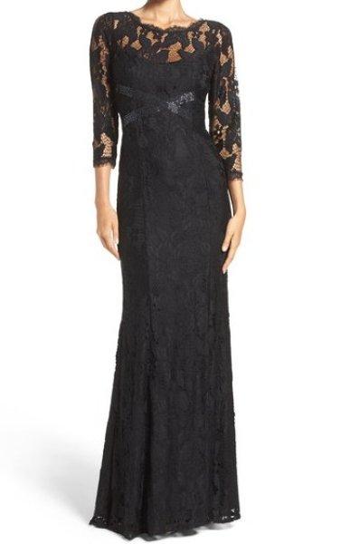 画像1: Adrianna Papell アドリアナパペル パーティードレス  Illusion Yoke Lace Gown ブラック (1)