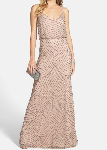 画像1: ドラマ【プリティリトルライヤーズ使用】Adrianna Papell アドリアナパペル  Beaded Blouson Dress Taupe Pink  (1)