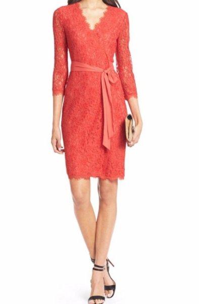 画像1: 【ドラマ使用】Diane von Furstenberg ダイアンフォンファステンバーグ  Julianna Lace Wrap Dress ホットコーラル (1)