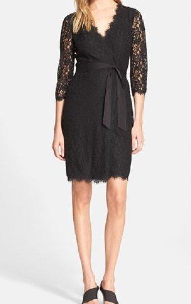 画像1: 【ドラマ使用】Diane von Furstenberg ダイアンフォンファステンバーグ  Julianna Lace Wrap Dress ブラック (1)