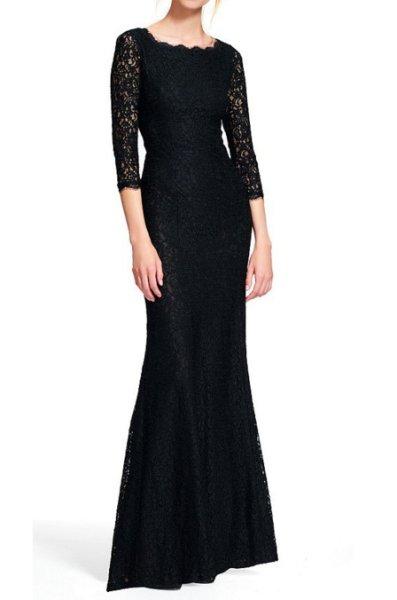 画像1: Adrianna Papell アドリアナパペル lace mermaid gown ブラック (1)