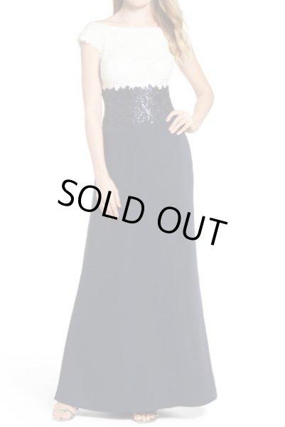 画像1: Tadashi Shoji タダシショージ  Sequin Lace Two-Tone Gown ネイビー (1)