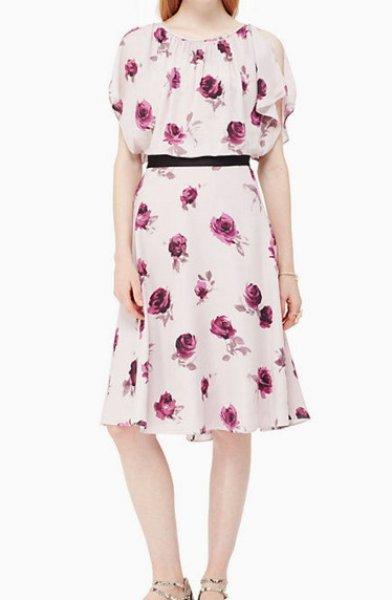 画像1: 【波留さんご着用】KATE SPADE New York ケイトスペード  Encore Rose Flutter Dress (1)