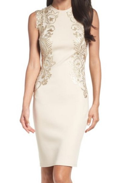 画像1: Tadashi Shoji タダシショージ  Sequin Appliqué Neoprene Sheath Dress (1)