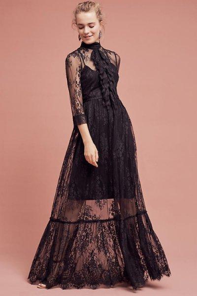 画像1: Tracy Reese トレイシーリース Laced Victorian Maxi Dress (1)