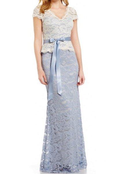 画像1: Adrianna Papell アドリアナパペル Nouveau Scroll Lace Peplum ドレス ライトブルー (1)