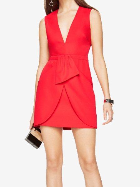 画像1: 【ドラマ使用】BCBGMAXAZRIA   Clare Wrap Drape Skirt Dress レッド (1)