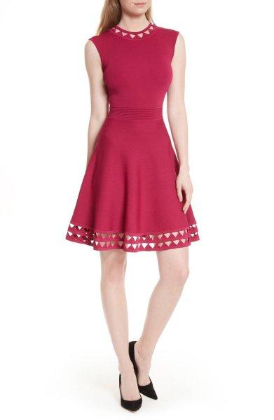 画像1: ドラマ【ARROW使用】Ted Bakerテッドベイカー  Kathryn Cutwork Knit Skater Dress (1)