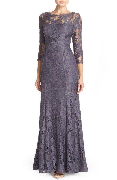 画像1: Adrianna Papell アドリアナパペル パーティードレス  Illusion Yoke Lace Gown グレー系 (1)