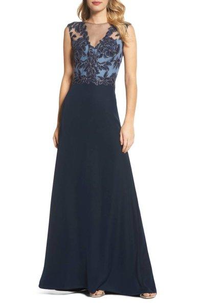 画像1: セール!Tadashi Shoji  パーティードレス Sleeveless Illusion Lace Gown ネイビー (1)