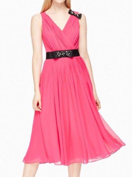 画像1: KATE SPADE New York ケイトスペード  リボン付きピンクドレス (1)