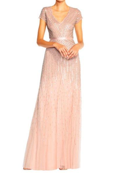 画像1: 【ドラマ使用】Adrianna Papell   Cap-Sleeve Sequined Gown  ピンク系 (1)