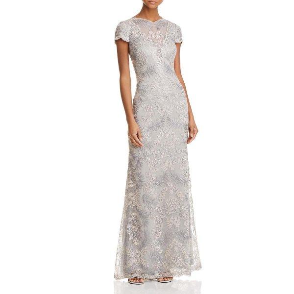 画像1: 【デヴィ夫人ご着用】Tadashi Shoji タダシショージ Cap Sleeve Lace V-Back Gown  ライトパール (1)
