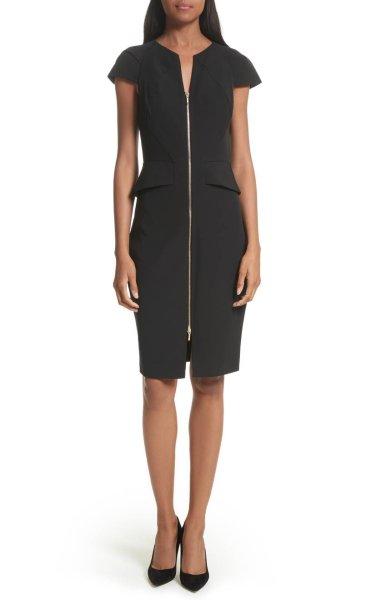 画像1: 【ドラマ多数使用】Ted Baker   Architectural Pencil Dress ブラック (1)