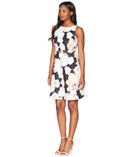 画像1: 【Kathie Lee Gifford愛用】Adrianna Papell アドリアナパペル Fitted A-Line Sleeveless Dress (1)