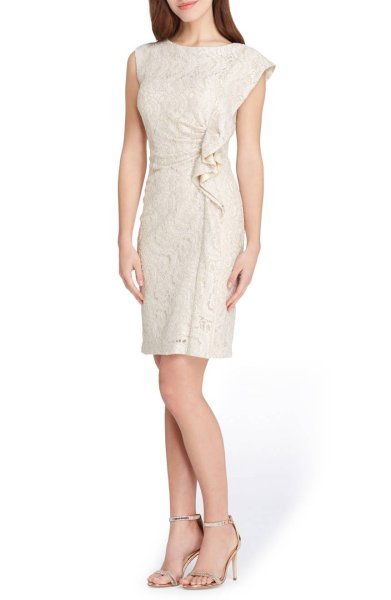 画像1: 【Kathie Lee Gifford着用】Tahari by ASL   Ruffle Lace Sheath Dress (1)