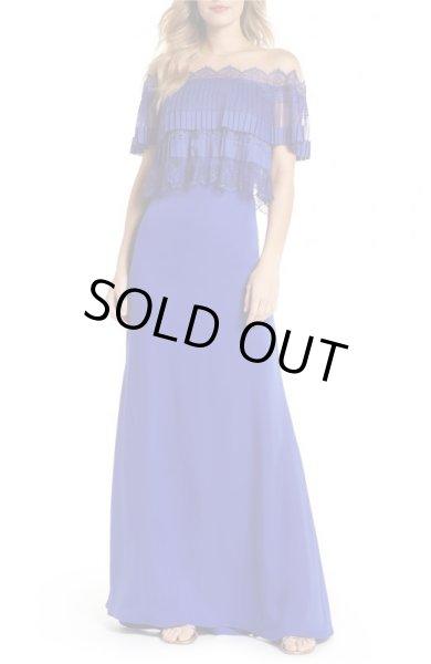画像1: Tadashi Shoji タダシショージ Off The Shoulder Lace & Crepe Gown ブルー系 (1)