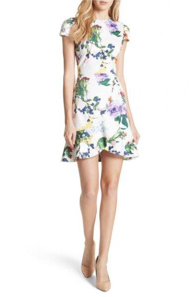 画像1: 【Amiさんご着用】Alice + Olivia アリスアンドオリビア Kirby 花柄ドレス  (1)