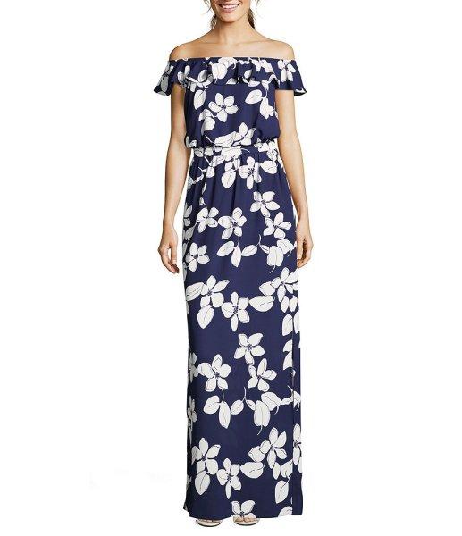 画像1: 【Kathie Lee Gifford愛用】Adrianna Papell アドリアナパペル Simple Delight Ruffled Maxi Dress  (1)
