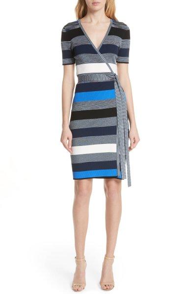 画像1: 【ドラマ使用】Diane von Furstenberg ダイアンフォンファステンバーグ ストライプニットラップドレス  (1)