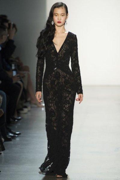 画像1: 再販売【とよた真帆さん着用】Tadashi Shoji タダシショージ   パーティードレス Burnout Lace Gown ブラック (1)