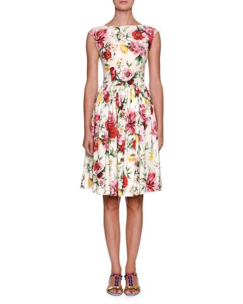 画像1: Dolce & Gabbana ドルチェ&ガッバーナ ローズ柄 Poplin Dress (1)